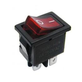 Kolískový prepínač , ON-OFF mini, 6A-250V,červený