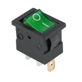 Kolískový prepínač mini,ON-OFF,3-pin,12V,zelený