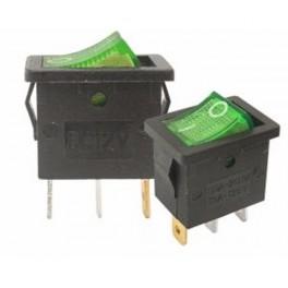 Kolískový prepínač mini,ON-OFF,3-pin,230V,zelený