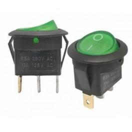 Kolískový prepínač ON-OFF, okrúhly, 3-pin,zelený