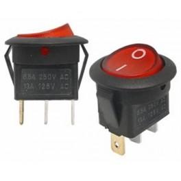 Kolískový prepínač ON-OFF, okrúhly, 3-pin,červený