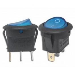 Kolískový prepínač ON-OFF,okrúhly,3-pin,12V,modrý