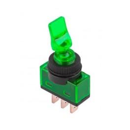 Páčkový prepínač zeleny, 3-pin, ON-OFF, 20A/12V