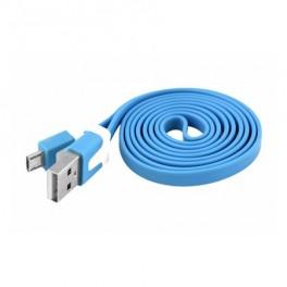 Kábel USB - Micro USB, modrý, plochý 1m