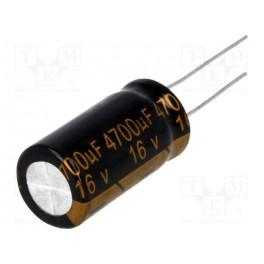 Kondenzátor: elektrolytický; THT; 4700uF; 16VDC; Ø