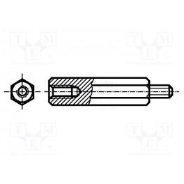 Dištančný stĺpik so závitom; Vnút.závit: M3; 10mm;